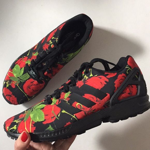 best website b54e3 c7c83 ADIDAS Torsion ZX Flux Black/Red Rose Sneakers 9.5 NWT